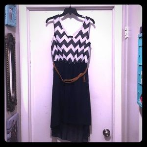 Navy Chevron XL sleeveless dress